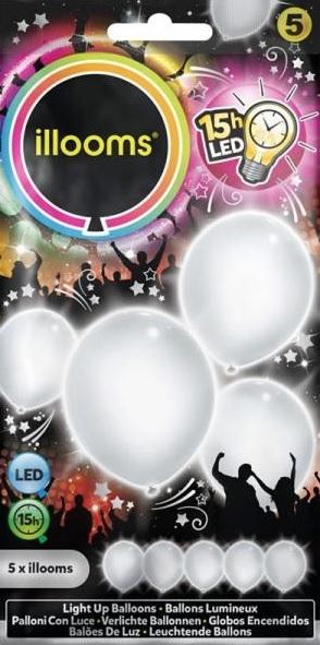 ILLOOMS 5er LED Ballon Weiss