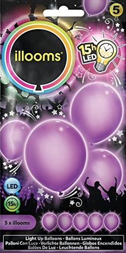 ILLOOMS 5er LED Ballon Lila